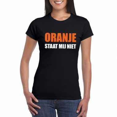 Zwarte tekst t shirts dames oranje staat mij niet bedrukking
