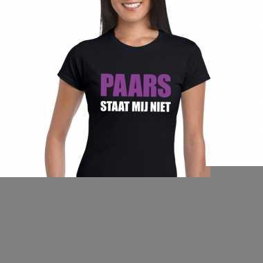 Zwarte tekst t shirts dames paars staat mij niet bedrukking