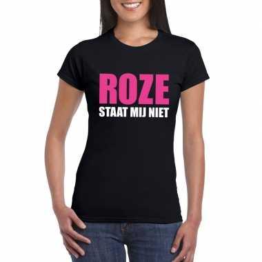 Zwarte tekst t shirts dames roze staat mij niet bedrukking