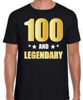 100 and legendary verjaardag cadeau t shirt goud 100 jaar zwart heren