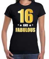 16 and fabulous verjaardag cadeau t-shirt shirt goud 16 jaar zwart dames