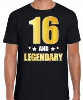 16 and legendary verjaardag cadeau t-shirt goud 16 jaar zwart heren