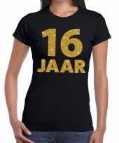 16 jaar goud glitter t-shirt zwart dames