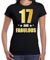 17 and fabulous verjaardag cadeau t shirt shirt goud 17 jaar zwart dames