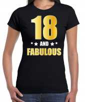 18 and fabulous verjaardag cadeau t-shirt shirt goud 18 jaar zwart dames