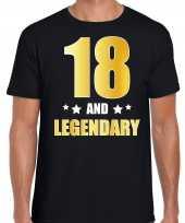 18 and legendary verjaardag cadeau t-shirt goud 18 jaar zwart heren