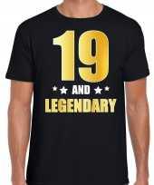 19 and legendary verjaardag cadeau t shirt goud 19 jaar zwart heren