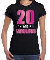 20 and fabulous verjaardag cadeau t shirt shirt 20 jaar zwart dames