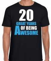 20 great years of being awesome verjaardag cadeau t-shirt zwart heren