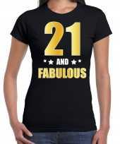 21 and fabulous verjaardag cadeau t-shirt shirt goud 21 jaar zwart dames