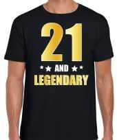 21 and legendary verjaardag cadeau t-shirt goud 21 jaar zwart heren