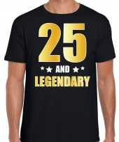 25 and legendary verjaardag cadeau t-shirt goud 25 jaar zwart heren