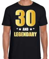 30 and legendary verjaardag cadeau t-shirt goud 30 jaar zwart heren