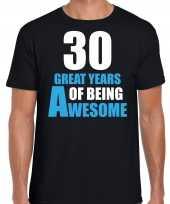 30 great years of being awesome verjaardag cadeau t-shirt zwart heren