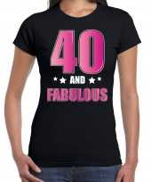 40 and fabulous verjaardag cadeau t-shirt shirt 40 jaar zwart dames