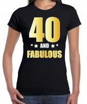 40 and fabulous verjaardag cadeau t-shirt shirt goud 40 jaar zwart dames