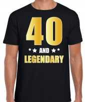 40 and legendary verjaardag cadeau t-shirt goud 40 jaar zwart heren