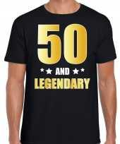 50 and legendary verjaardag cadeau t-shirt goud 50 jaar zwart heren