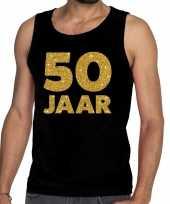 50 jaar glitter tanktop mouwloos shirt zwart heren