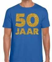50 jaar glitter verjaardag t-shirt blauw heren