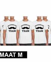 5x vrijgezellenfeest team t-shirt wit heren maat m