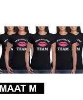 5x vrijgezellenfeest team t-shirt zwart dames maat m