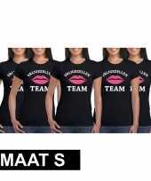5x vrijgezellenfeest team t-shirt zwart dames maat s