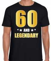 60 and legendary verjaardag cadeau t-shirt goud 60 jaar zwart heren