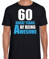 60 great years of being awesome verjaardag cadeau t-shirt zwart heren