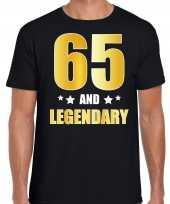 65 and legendary verjaardag cadeau t-shirt goud 65 jaar zwart heren