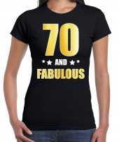 70 and fabulous verjaardag cadeau t-shirt shirt goud 70 jaar zwart dames