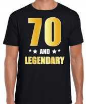 70 and legendary verjaardag cadeau t-shirt goud 70 jaar zwart heren