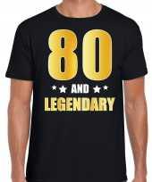 80 and legendary verjaardag cadeau t-shirt goud 80 jaar zwart heren