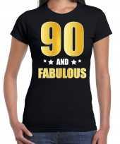 90 and fabulous verjaardag cadeau t-shirt shirt goud 90 jaar zwart dames