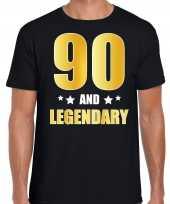 90 and legendary verjaardag cadeau t-shirt goud 90 jaar zwart heren