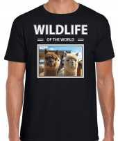 Alpaca t-shirt dieren foto wildlife of the world zwart heren
