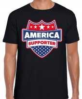Amerika america schild supporter t-shirt zwart heren