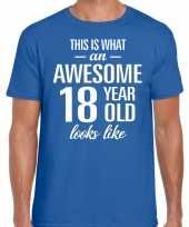 Awesome 18 year 18 jaar cadeau t-shirt blauw heren
