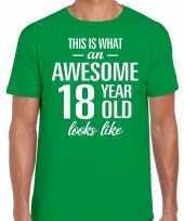 Awesome 18 year 18 jaar cadeau t-shirt groen heren