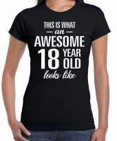 Awesome 18 year 18 jaar cadeau t-shirt zwart dames