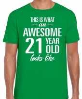 Awesome 21 year 21 jaar cadeau t-shirt groen heren
