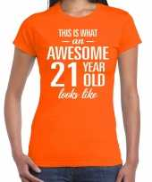 Awesome 21 year 21 jaar cadeau t-shirt oranje dames