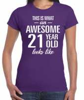 Awesome 21 year 21 jaar cadeau t-shirt paars dames