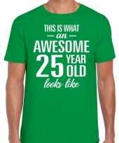 Awesome 25 year 25 jaar cadeau t-shirt groen heren