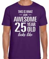 Awesome 25 year 25 jaar cadeau t-shirt paars heren