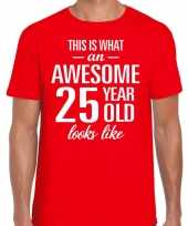 Awesome 25 year 25 jaar cadeau t-shirt rood heren