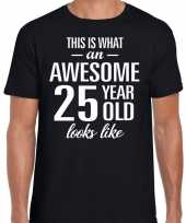 Awesome 25 year 25 jaar cadeau t-shirt zwart heren