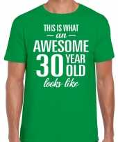 Awesome 30 year 30 jaar cadeau t-shirt groen heren