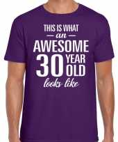 Awesome 30 year 30 jaar cadeau t-shirt paars heren