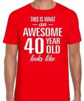 Awesome 40 year 40 jaar cadeau t-shirt rood heren